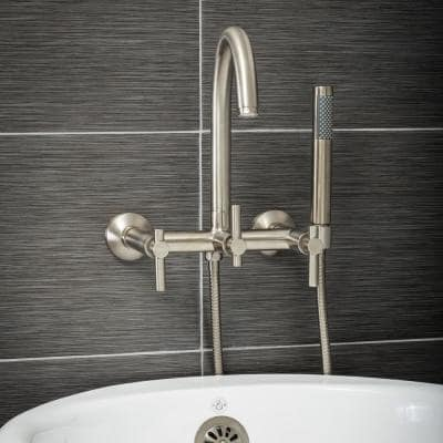 Modern 3-Handle Wall Mount Freestanding Tub Faucet with Handshower and Hose, Metal Levers, in Brushed Nickel
