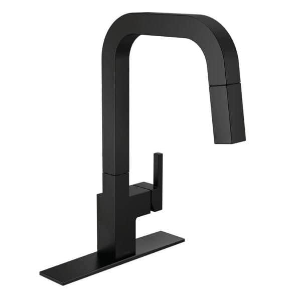 Delta Junction Single Handle Pull Down Sprayer Kitchen Faucet With Magnatite Docking In Matte Black 19825lf Bl The Home Depot
