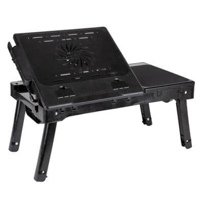 21 in. Cooling Laptop Desk Black with Adjustable Folding Legs