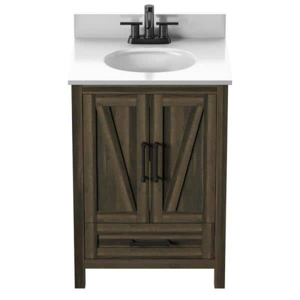 Twin Star Home Rustic 24 In Bath Vanity In Fairfax Oak Canyon Lake Pine Drawer With Vanity Top White Stone And Basin 24bv477 Pd23 The Home Depot