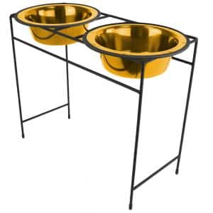 Modern Double Diner Feeder with Stainless Steel Cat/Dog Bowls, 24 Karat Gold