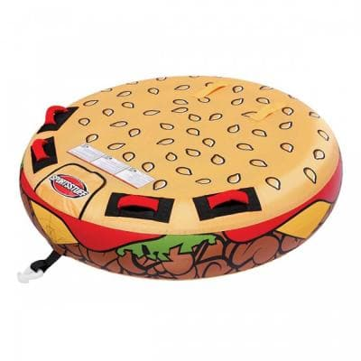 58 in. Beige PVC Inflatable 2-Rider Cheeseburger Towable Lake Tube