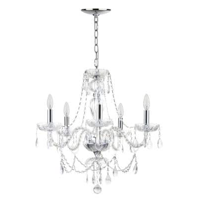 Jingle 5-Light Chrome/Clear Crystal Candle-Style Chandelier