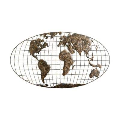 46 in. x 25.5 in. Metal Iron World Map Wall Art