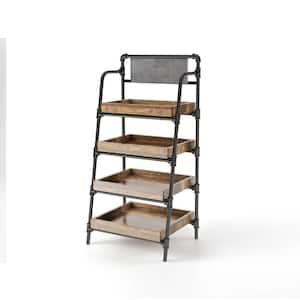 Sabela 59 in. H Sand Black 4-Shelf Bookcase
