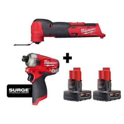 M12 FUEL 12-Volt Lithium-Ion Cordless Oscillating Multi-Tool and Impact Driver with two 3.0 Ah Batteries