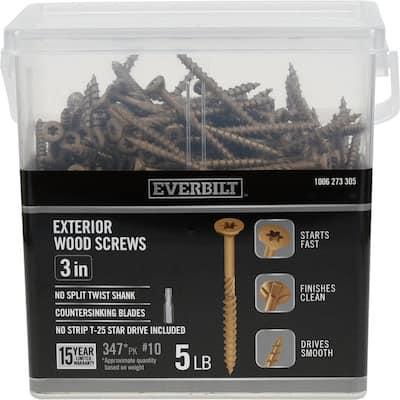 #10 x 3 in. Star Drive Flat Head Exterior Wood Screws (347-Pack)