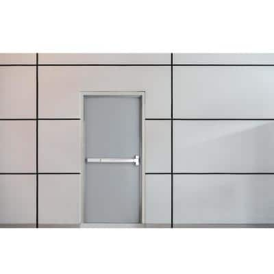 36 in. x 84 in. Fire-Rated Gray Left-Hand Flush Steel Commercial Door Slab with Panic Bar and Knock Down Frame