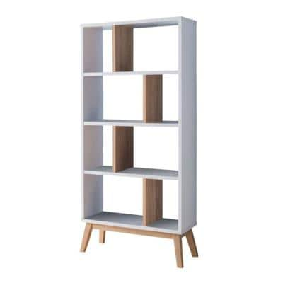 White and Brown Wooden Display Cabinet with 4 Shelves