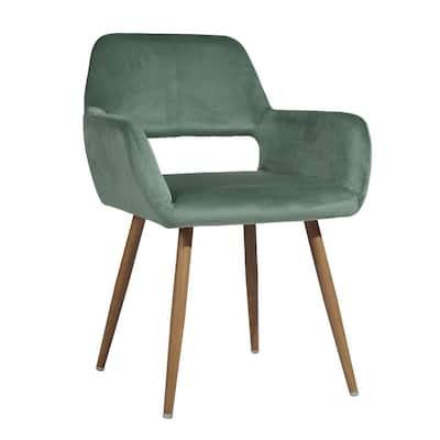 Upholstered Hollow Design Armrest Side Chair Fabric Light Green, Cactus