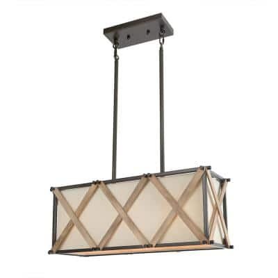 Nezin 3-Light Bronze Kitchen Island Linear Chandelier