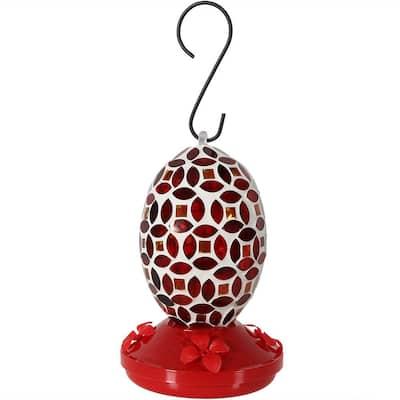 7 in. Red Mosaic Glass Flower Hummingbird Feeder