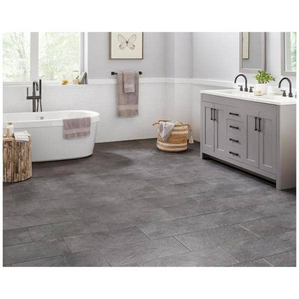 Trafficmaster Cascade Ridge 24 In X 12 In Slate Ceramic Floor And Wall Tile 15 04 Sq Ft Case Cr081224hd1pv The Home Depot