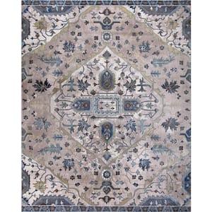 Talya Ivory/Blue 7 ft. x 9 ft. Medallion Area Rug