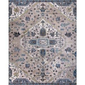 Talya Ivory/Blue 8 ft. x 10 ft. Medallion Area Rug