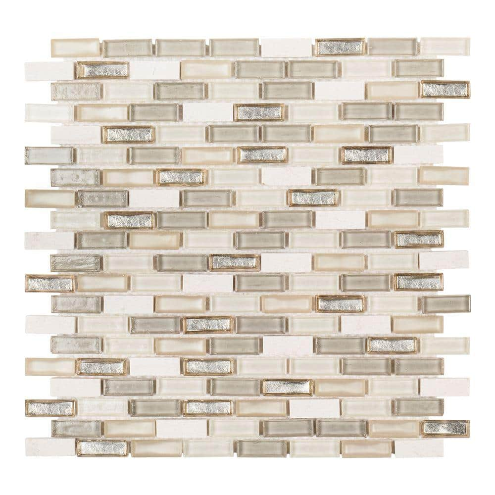 jeffrey court afternoon tea cream 11 5 in x 11 625 in interlocking mixed glass and stone mosaic tile 0 988 sq ft each 99621 the home depot