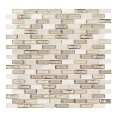 Afternoon Tea Cream 11.5 in. x 11.625 in. Interlocking Mixed Glass and Stone Mosaic Tile (0.988 sq. ft./Each)