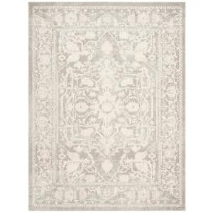 Reflection Light Gray/Cream 8 ft. x 10 ft. Border Floral Area Rug