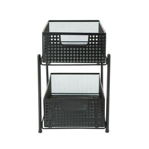 2-Tier Black Mesh Cabinet Storage Organizer with Pull-Out Basket