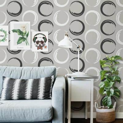 Circles Texture Strippable Wallpaper Vinyl Strippable Roll Wallpaper (Covers 59.2 sq. ft.) Blue