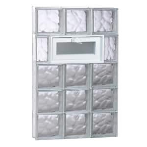 23.25 in. x 38.75 in. x 3.125 in. Frameless Wave Pattern Vented Glass Block Window