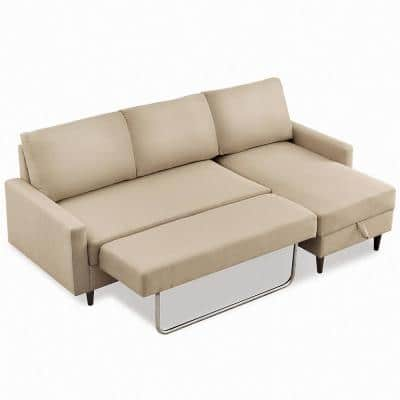 2 Piece 84 in. Beige Polyester 3 Seats Pul-out Sleeper Sofa Bed Right Facing Corner Sectionals with Storage
