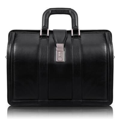 McKlein Morgan 17 in. Black Top Grain Cowhide Leather Litigator Laptop Briefcase