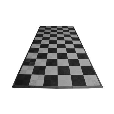 8.3 ft. x 17.5 ft. Black and Silver Checkered Ribtrax Smooth Eco Flooring, Single Car Pad Kit
