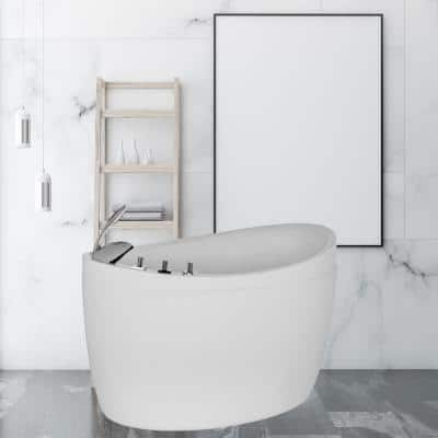 Japanese Style 59 in. Acrylic Flatbottom Deep Soaking Freestanding Air Bath Bathtub in White with Tub Filler