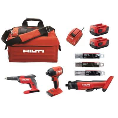 22-Volt Lithium-Ion 3 Tool Cordless Combo with Drywall Screw Gun, Impact Driver, Brushless Cut Out Tool and Battery Pack