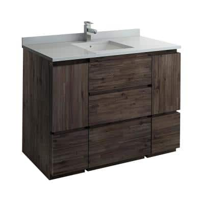 Formosa 48 in. Modern Vanity in Warm Gray with Quartz Stone Vanity Top in White with White Basin