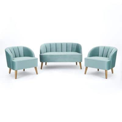 Amaia 3-Piece Seafoam Blue Living Room Set