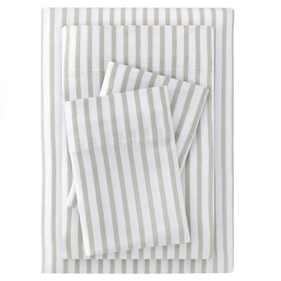 Jersey Knit Cotton Blend Full Sheet Set in Biscuit Stripe