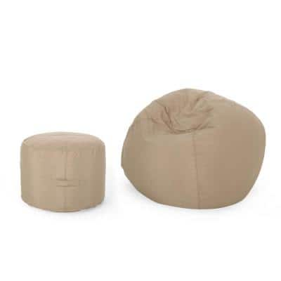 Rosalie Bay Tuscany 2-Piece Water-Resistant Outdoor Bean Bag and Ottoman Pouf Set