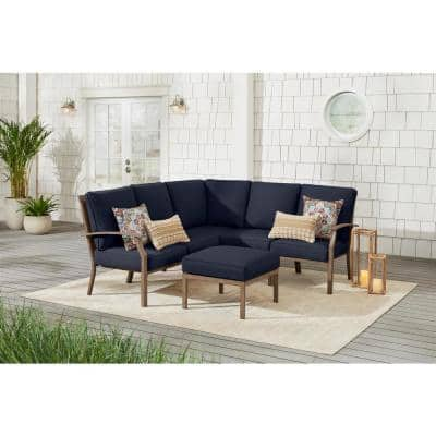 Geneva 6-Piece Brown Wicker Outdoor Sectional Sofa Seating Set with Ottoman and CushionGuard Midnight Navy Blue Cushions