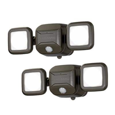 Outdoor 600 Lumen High Performance Battery Powered Motion Activated Integrated LED Security Light, Brown (2-Pack)