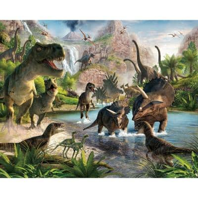 120 in. H x 96 in. W Dinosaur Land Wall Mural