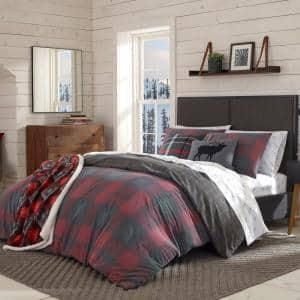 Cattle River 3-Piece Red Plaid Cotton King Duvet Cover Set