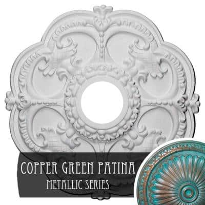 1-1/2 in. x 18 in. x 18 in. Polyurethane Rotherham Ceiling Medallion, Copper Green Patina