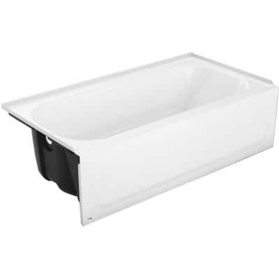 Mauicast Plus 60 in. Left Drain Rectangular Alcove Soaking Bathtub in White