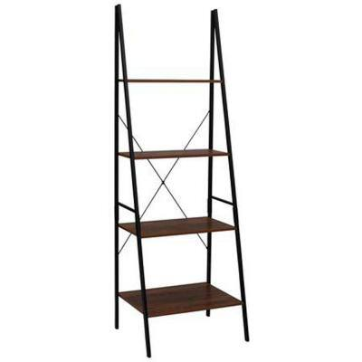 70.87 in. Hickory Faux Wood 4-Shelf Ladder Bookcase