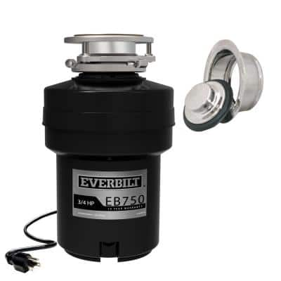 Designer Series 3/4 HP Continuous Feed Garbage Disposal with Polished Chrome Sink Flange and Attached Power Cord
