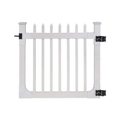 4 ft. x 4 ft. Nantucket Vinyl Picket Fence Gate with Stainless Steel Hardware