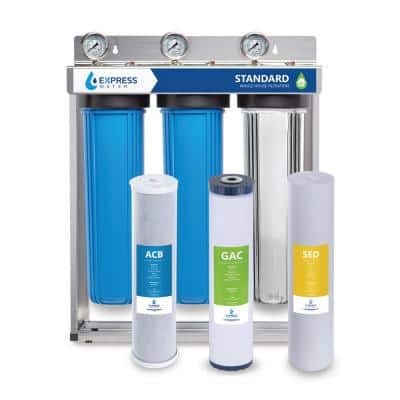 3 Stage Whole House Water Filtration System - SED, Charcoal, Carbon - includes Pressure Gauges and more