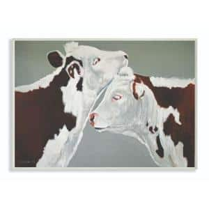 10 in. x 15 in. ''Cow Couple Green and Brown Painting'' by Penny Lane Publishing Wood Wall Art
