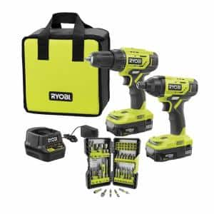 ONE+ 18V Cordless 2-Tool Combo Kit w/ (2) 1.5Ah Batteries, Charger & Bag w/ Bonus Impact Rated Driving Kit (70Piece)