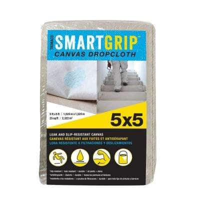 Smart Grip 5 ft. x 5 ft. Canvas Drop Cloth