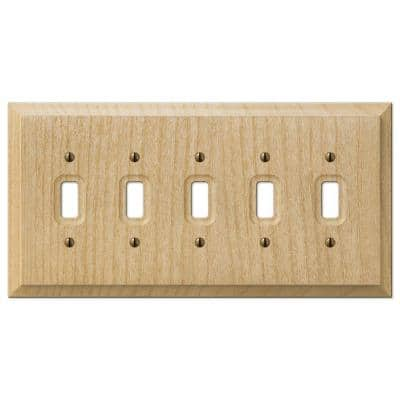 Cabin 5 Gang Toggle Wood Wall Plate - Unfinished
