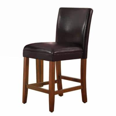 Luxury Brown Faux Leather 24 in. Counter Height barstool