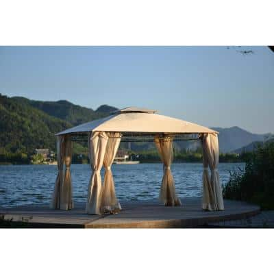 Beige 11 ft. x 12 ft. Double Tiered Gazebo Canopy with UV Protection